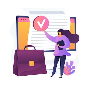 Document evaluation. verifying, approved, validating. signing official contact, agreement. businesswoman cartoon character with briefcase. vector isolated concept metaphor illustration
