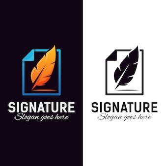 Document feather signature logo design vector template Premium Vector