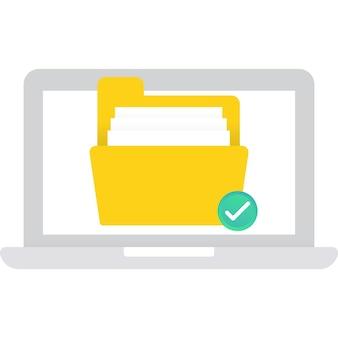 Значок папки файла документа на компьютере вектор