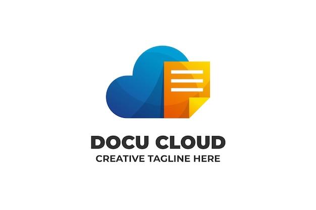 Шаблон логотипа облачного сохранения файла документа