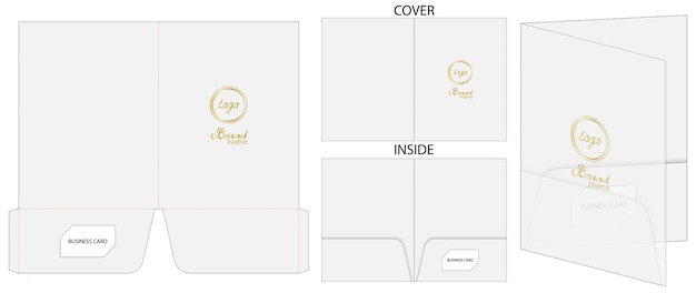 Document folder package die-cut mockup template