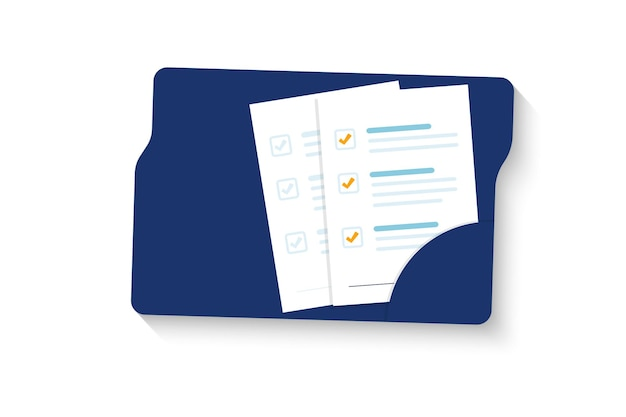 Document. folder with document, stamp and text. stack of agreements document with signature and approval stamp. contract papers