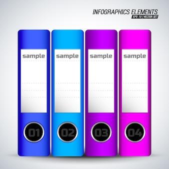 Elementi di infografica di cartelle di documenti