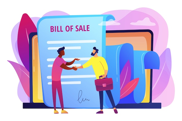 購入のための文書。顧客と購入者の取引。購入契約。売渡証、書面による販売文書、販売契約コンセプトの実行。