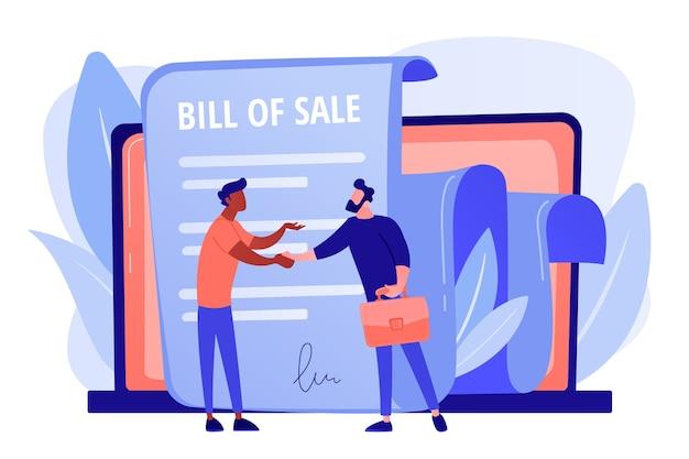 購入のための文書。顧客と購入者の取引。購入契約