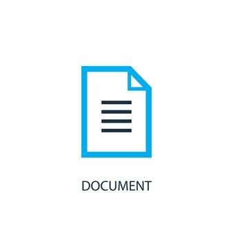 ドキュメントアイコン。ロゴ要素のイラスト。 2色のコレクションからシンボルデザインを文書化します。シンプルなドキュメントの概念。 webおよびモバイルで使用できます。