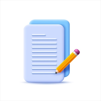 Document icon with 3d style