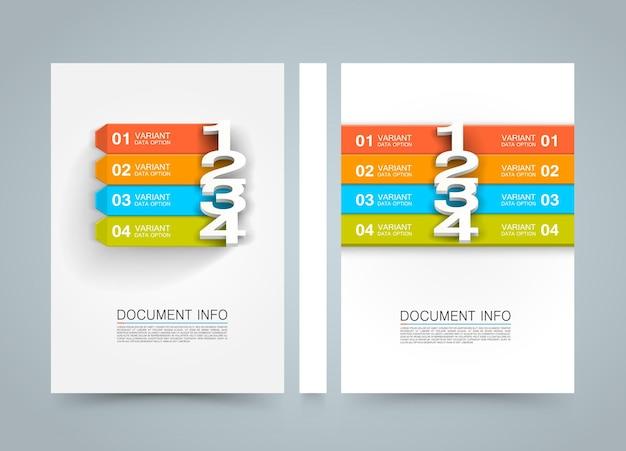 ドキュメント情報メニューバナーブック。 a4サイズの紙、テンプレートデザイン要素、ベクトル