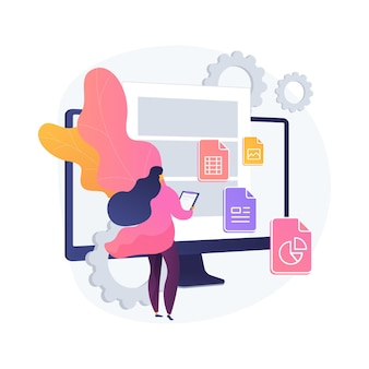 문서 관리 소프트 추상 개념 벡터 일러스트 레이 션. 문서 흐름 앱, 복합 문서, 클라우드 기반 dms, 온라인 파일 공유를위한 플랫폼. 비즈니스 프로세스 추상 은유를 관리합니다.