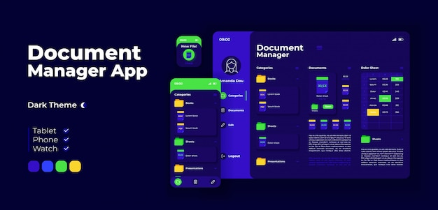 Document manager app screen adaptive design template. online file directory application night mode interface with flat characters. smartphone, tablet, smart watch cartoon ui