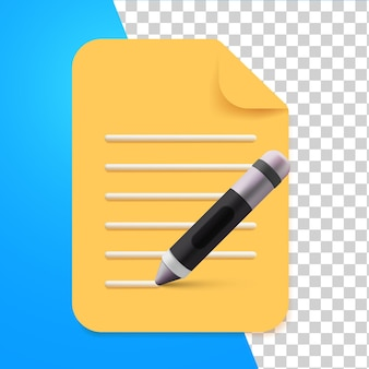 Document paper with touch pen 3d realistic cute cartoon style on transparent background