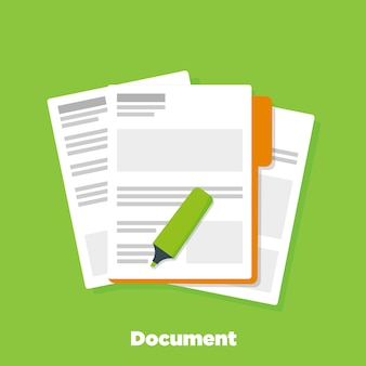 Document papers on corporative folder
