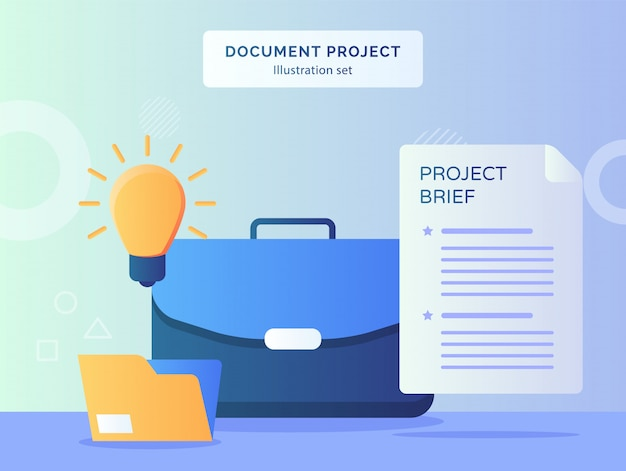 Document project illustration set executive leather suitcase nearby light bulb idea file folder brief project paper with flat style.