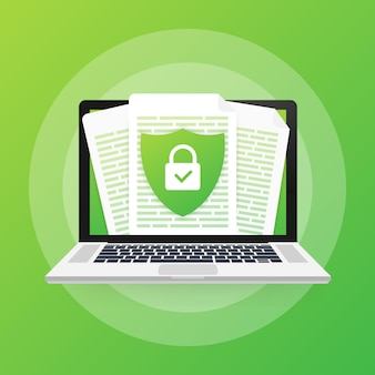 Document protection concept, confidential information and privacy. secure data with paper doc roll and guard shield