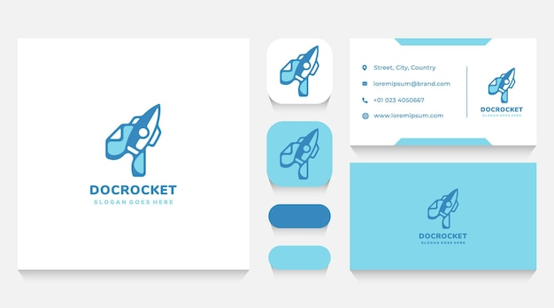 Document and rocket launch logo template and business card