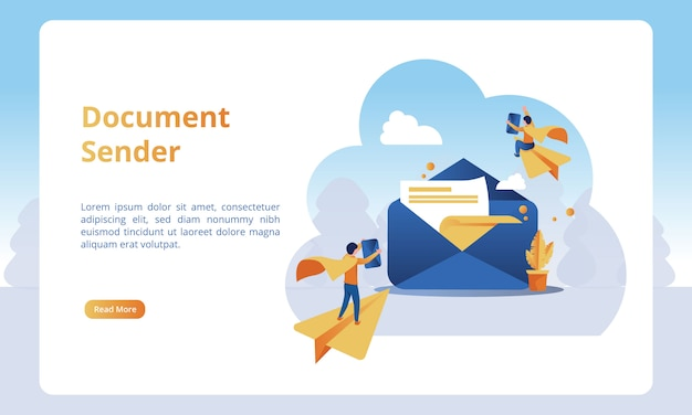 Of document sender for business landing pages