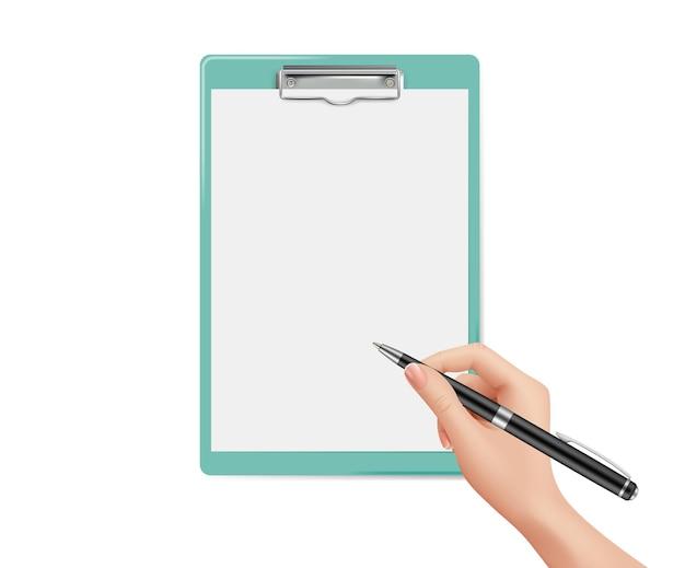 文書の署名。手はペン、白紙のノートページを保持します。投票、チェックリストまたはインタビュー、ビジネス契約のベクトルテンプレート。イラストビジネスマンはメッセージやアプリケーションを書く