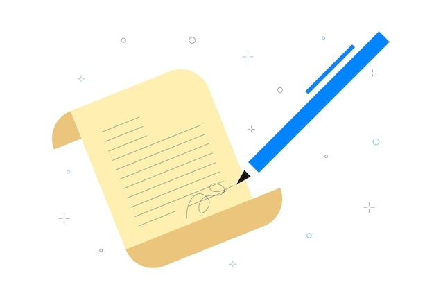 文書署名ビジネスコンセプト契約締結ビジネスパートナーシップのコンセプト