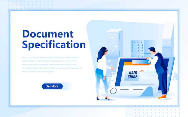 Document specification flat landing page template of homepage