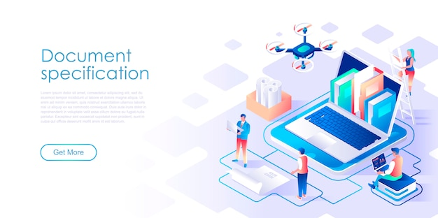 Document specification isometric landing page template