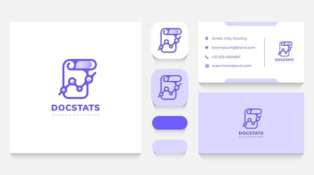 Document statistics and data logo template and business card