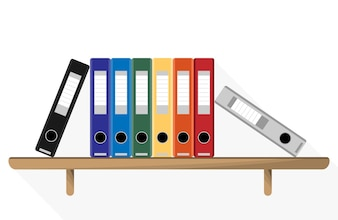 Document Storage Shelves with set of colored ring binders