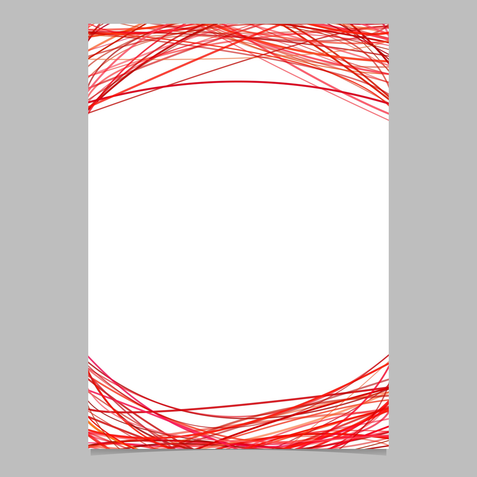 Document template with arched stripes in red tones - blank vector brochure illustration on white background