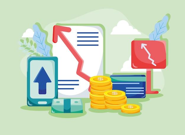 증가 화살표와 돈 기호가 있는 문서