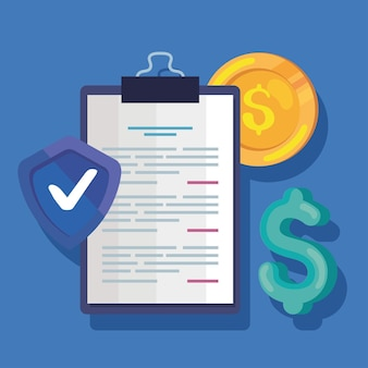 Document with insurance icon set