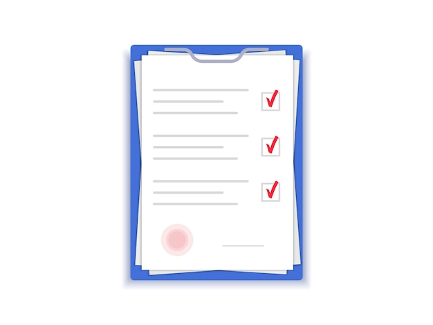 Document with stamp. agreement papers. contract with signature. flat design.