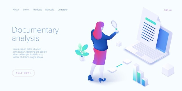 Documentary analysis in isometric landing page