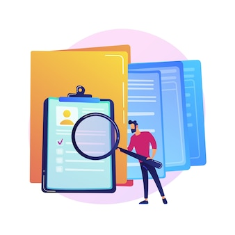 Documentation management colorful icon. female cartoon character putting document in big yellow folder. files storage, sorting, organization
