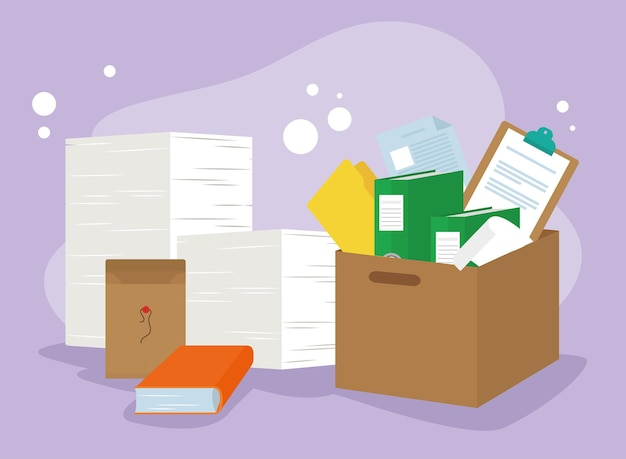 Documents in box and envelope paperwork