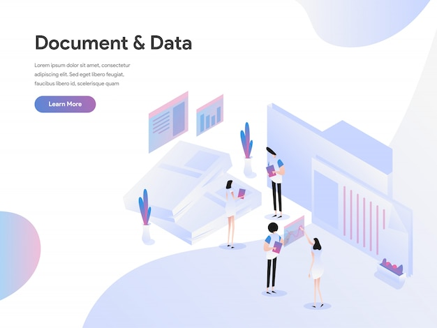 Documents and data illustration concept