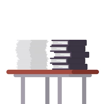 Documents and file folders on the table illustration