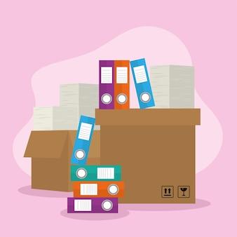 Файлы документов в ящике с бумагами