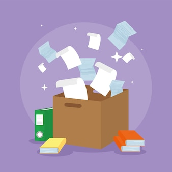 Documents flying in box paperwork
