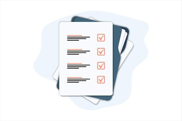 종이 시트가 있는 문서 폴더. 웹용 체크리스트 아이콘이 있는 폴더의 평면 그림. 계약서. 문서. 스탬프와 텍스트가 있는 폴더. 계약 서명
