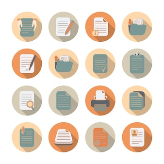 Documents folders and files processing and storage flat icons with shadow set isolated vector illustration