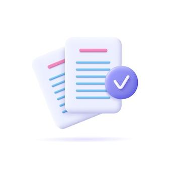Значок документов. стек бумажных листов. подтвержденный или утвержденный документ. иконка бизнес. 3d векторные иллюстрации.