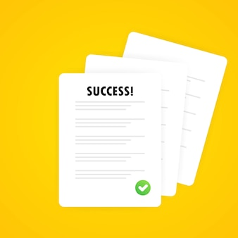 Documents icon. stack of paper sheets. confirmed or approved document. signed document, legal agreement, license with approved stamp, partnership form, successful transaction