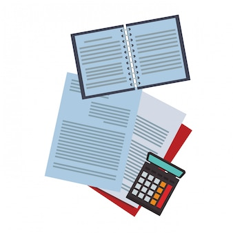 Documents and notebook with calculator