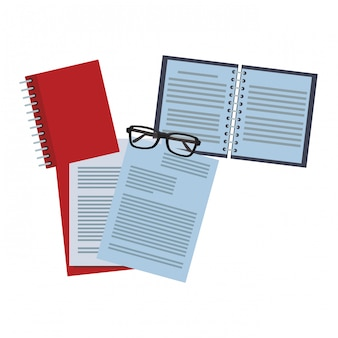 Documents and notebook with glasses