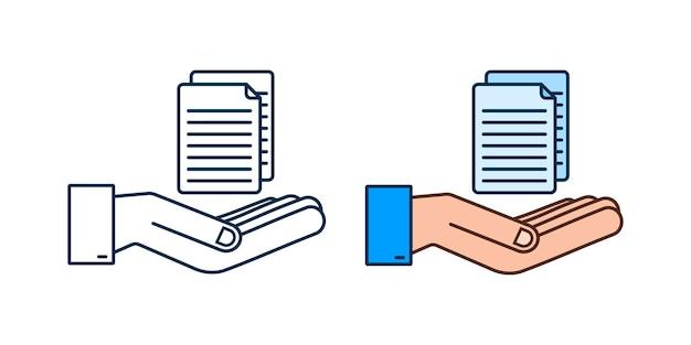 Документы, документы в плоском стиле в руках. векторный дизайн. иконка бизнес. плоский дизайн.