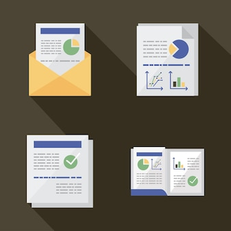 Documents set with infographics