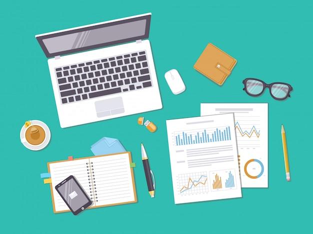 Документы с диаграммами, графиками, ноутбук, блокнот, телефон, кошелек, очки. подготовка к работе, анализ, отчет, бухгалтерия, исследования. бизнес-концепция фон. вид сверху. иллюстрация