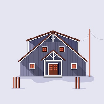Dodgy abandoned wooden house isolated vector illustration