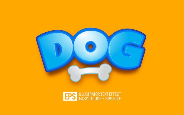 Dog 3d text editable style effect template