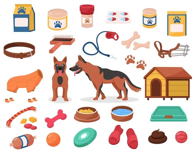 강아지 가게를 위한 개 액세서리 및 애완 동물 장난감 공급 세트. 수의학 식품 및 관리 용품, 송곳니 정장 및 보호 총구, 흰색 배경에 고립 된 개집 벡터 일러스트 레이 션