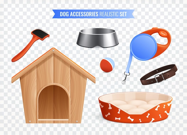 Insieme colorato degli accessori del cane della palla del collare degli strumenti di toelettatura del guinzaglio del piatto della cabina isolata su fondo trasparente realistico